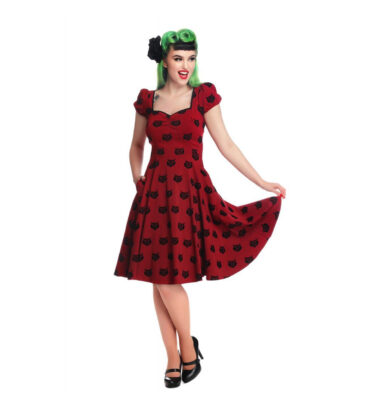 VESTIDO COLLECTIF MAINLINE MIMI VELVET CAT DOLL DRESS