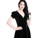 VESTIDO HELL BUNNY JOANNE BLACK VELVET DRESS