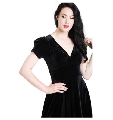 VESTIDO HELL BUNNY JOANNE BLACK VELVET DRESS