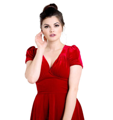 VESTIDO HELL BUNNY JOANNE RED VELVET DRESS
