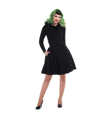 FALDA COLLECTIF MAINLINE NAOMI VELVET CAT SKATER SKIRT