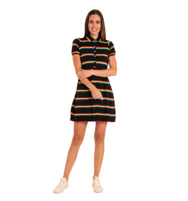 VESTIDO RUN & FLY RETRO NAVY RAINBOW SKATER DRESS