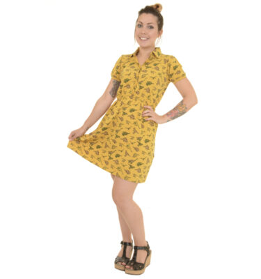 VESTIDO RUN & FLY RETRO GOLD DINOSAUR SKATER DRESS