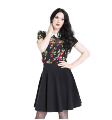 FALDA HELL BUNNY GABBY BLACK MINI SKATER SKIRT