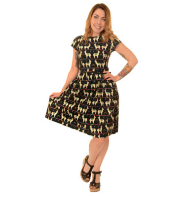 VESTIDO RUN & FLY BLACK LLAMA PRINT DRESS