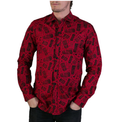 CAMISA AVALONIA RED TIKI HAWAIAN PRINT LONG SLEEVE SHIRT