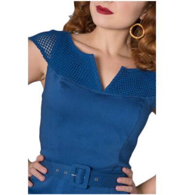 VESTIDO SHEEN YETTA 50'S PENCIL DRESS BLUE