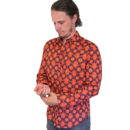 CAMISA AVALONIA RED ORANGE PRINT LONG SLEEVE SHIRT