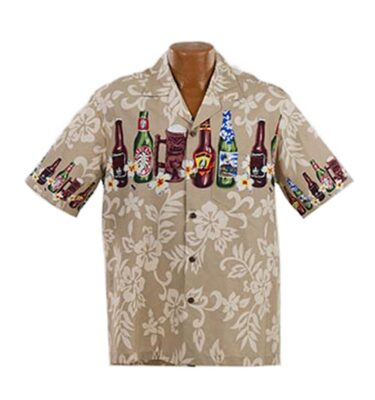 CAMISA HAWAIANA WINNIE FASHION BEER BOTTLES BEIGE