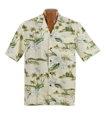 CAMISA HAWAIANA WINNIE FASHION WHITE ORCHID SHIRT