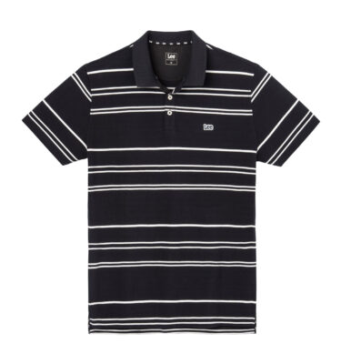 POLO LEE® BLACK PIQUÉ POLO WHITE STRIPES REGULAR FIT