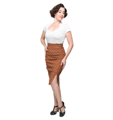 FALDA STEADY POLKA DOT PENCIL SKIRT IN RUST