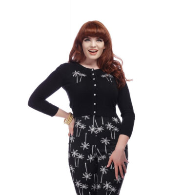 CARDIGAN COLLECTIF JESSIE PALM TREE IN BLACK