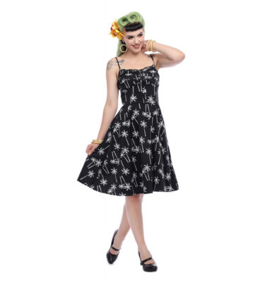 VESTIDO COLLECTIF MAINLINE FAIRY VINTAGE PALM SWING DRESS