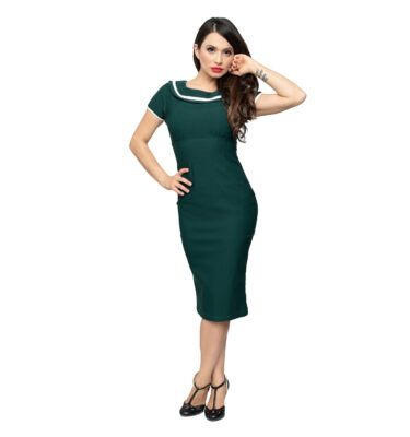 VESTIDO STEADY ELEANOR WIGGLE DRESS IN HUNTER GREEN