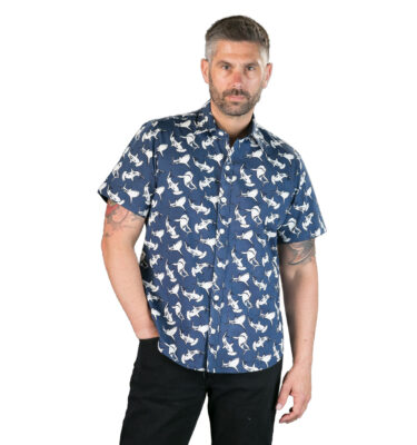 CAMISA AVALONIA SHARKS BLUE PRINT SHORT SLEEVE SHIRT