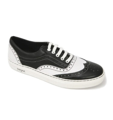OLD SCHOOL GANSTER WHITE & BLACK LEATHER SNEAKERS