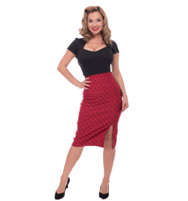 FALDA STEADY POLKA DOT PENCIL SKIRT IN RED