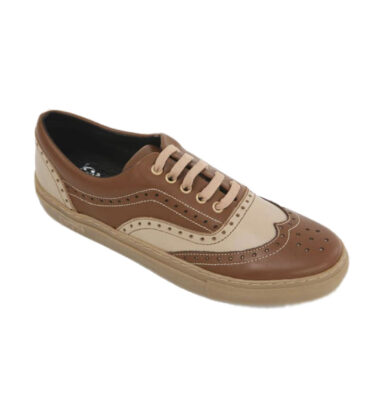 OLD SCHOOL GANSTER BEIGE & BROWN LEATHER SNEAKERS
