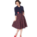 FALDA BANNED MRS. CLAUSE PLEATED CHECK SKIRT