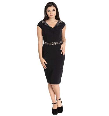 VESTIDO HELL BUNNY FELINE LEOPARD 50S PENCIL DRESS
