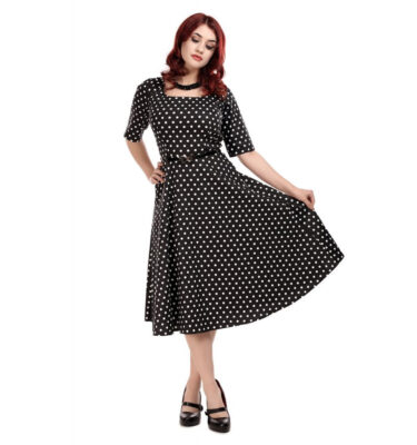VESTIDO COLLECTIF MAINLINE AMBER POLKA DOT SWING DRESS