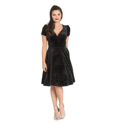 VESTIDO HELL BUNNY GLITTERBELLE VELVET BLACK DRESS