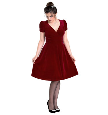 VESTIDO HELL BUNNY JOANNE BURGUNDY VELVET DRESS
