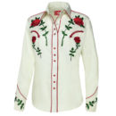 CAMISA WESTERN STARS & STRIPES TAYLOR RED ROSES IN WHITE