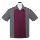 CAMISA STEADY BOWLING DIAMOND STITCH BUTTON UP IN CHARCOAL