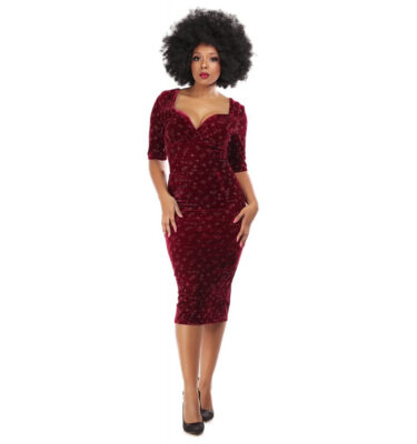 VESTIDO COLLECTIF MAINLINE TRIXIE VELVET SPARKLE PENCIL DRESS