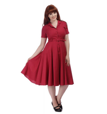 VESTIDO COLLECTIF VINTAGE CATERINA PLAIN SWING DRESS