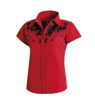 CAMISA WESTERN STARS & STRIPES ELLA EMBROIDERED BLACK ON RED