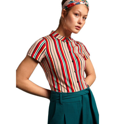 CAMISA KING LOUIE LIDO STRIPE CHILI RED BLOUSE