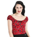 TOP HELL BUNNY ALISON BLACK CHERRY PRINT ON RED