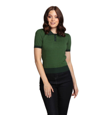 POLO COLLECTIF ASIA GREEN STRIPED KNITTED POLO