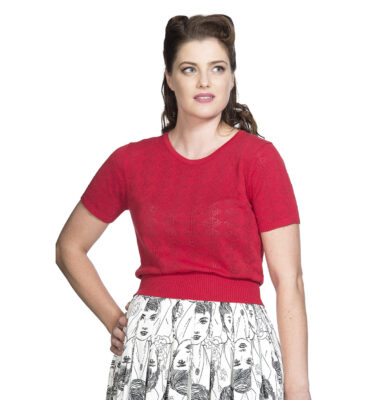 TOP BANNED RETRO 50S NAUTICAL JUMPER IN RED