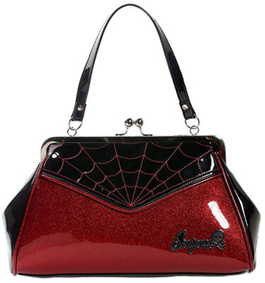 BOLSO SOURPUSS SPIDERWEB BACKSEAT BABY RED/BLACK HANDBAG