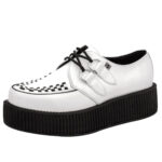 T.U.K. WHITE LEATHER VIVA MONDO CREEPER TRIPLE SUELA