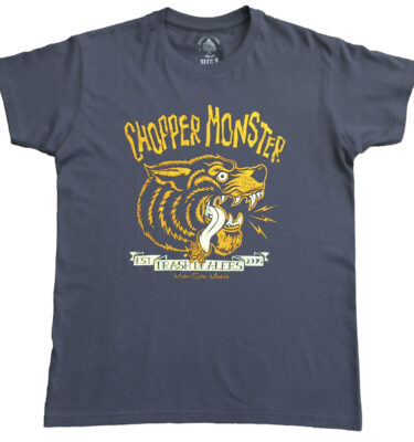 CAMISETA CHOPPER MONSTER AZUL ACERO COYOTE NARANJA