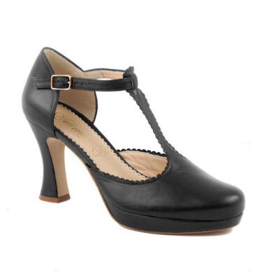"ZAPATO ""ANA MONSALVE"" T-BAR RETRO PILI NEGRO"