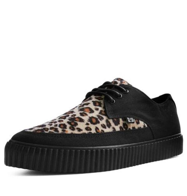 T.U.K. BLACK & LEOPARD TIE POINTED LACE UP EZC