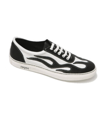 OLD SCHOOL FLAMING WHITE & BLACK LEATHER SNEAKERS
