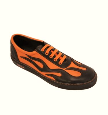 OLD SCHOOL FLAMING ORANGE & BLACK LEATHER SNEAKERS