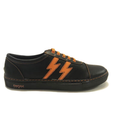 OLD SCHOOL LIGHTINGS BLACK & ORANGE LEATHER SNEAKERS