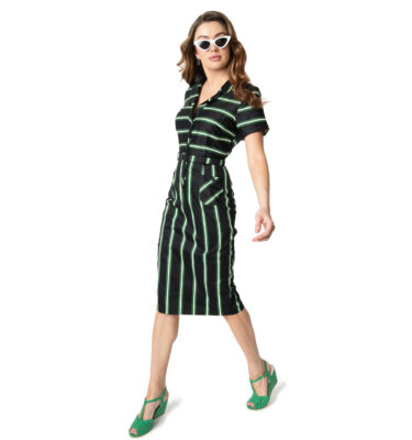VESTIDO COLLECTIF CATERINA WITCH STRIPES PENCIL DRESS