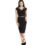 VESTIDO HELL BUNNY FELINE LEOPARD 50S PENCIL DRESS