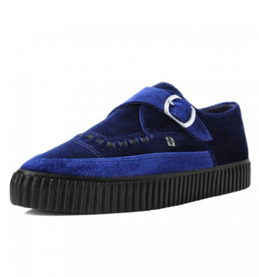T.U.K. MIDNIGHT BLUE VELVET MONK BUCKLE POINTED CREEPER SNEAKER