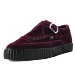 T.U.K. BURGUNDY VELVET MONK BUCKLE POINTED CREEPER SNEAKER