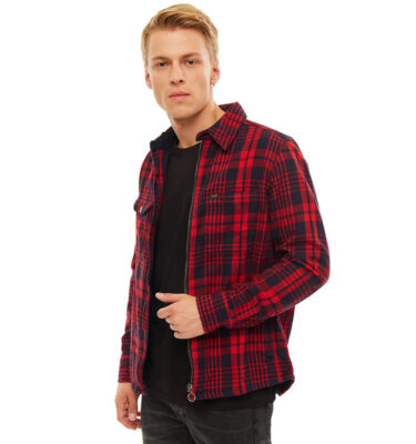 CAZADORA LEE® ZIP THROUGH WORKER OVERSHIRT WARP RED